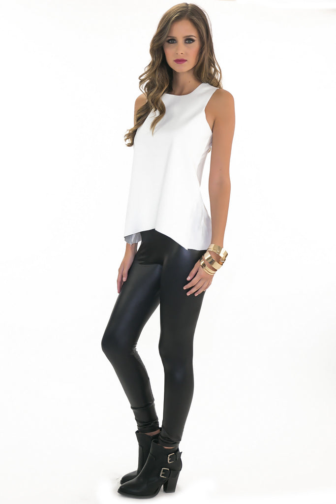OLIVIA LEATHER CONTRAST TOP - WHITE - Haute & Rebellious