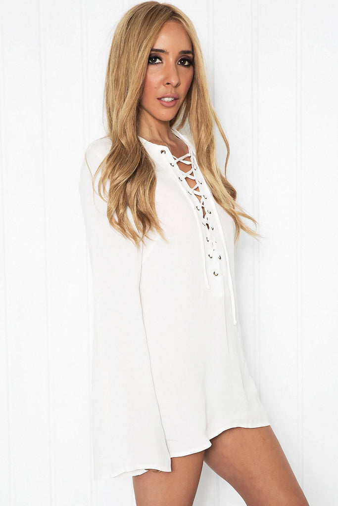 Mauvly Lace-Up Bell Sleeve Blouse