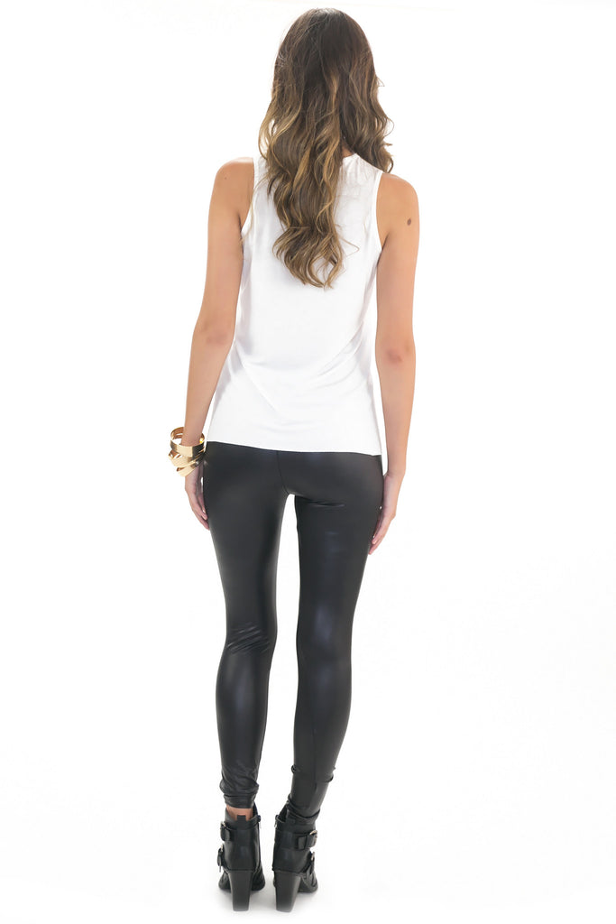 OLIVIA LEATHER CONTRAST TOP - WHITE