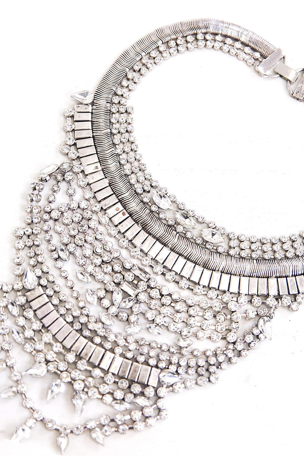 Cari Rhinestone Statement Necklace - Silver - Haute & Rebellious