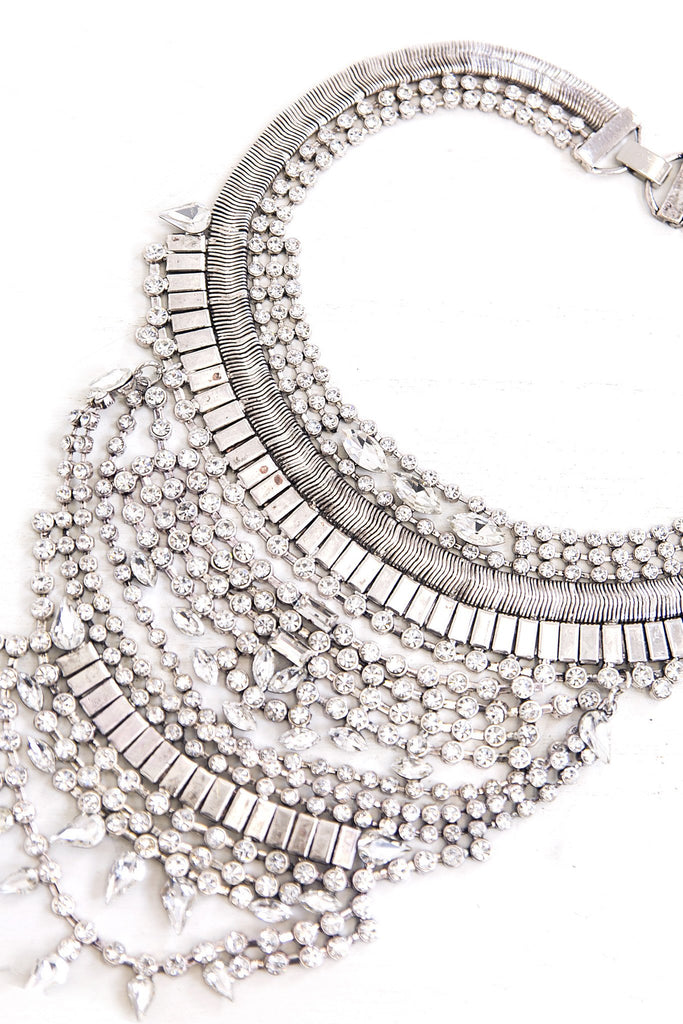 Cari Rhinestone Statement Necklace - Silver