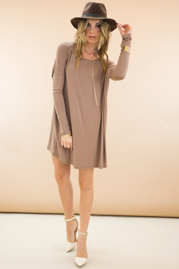 Emma Basic Long Sleeve Shift Dress - Mocha