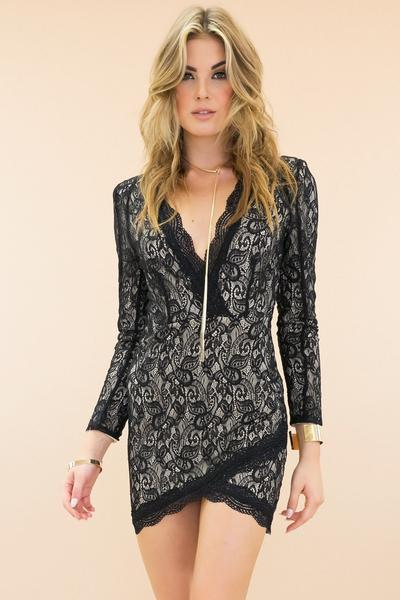 See Right Through Lace Body-Con Dress