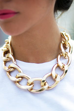 SOLID GOLD CHAIN LINK NECKLACE - Haute & Rebellious