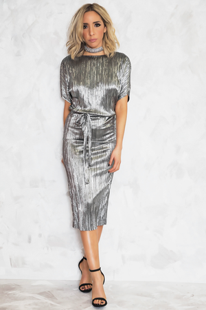 Sheen Goddess Metallic Midi Dress - Silver - Haute & Rebellious