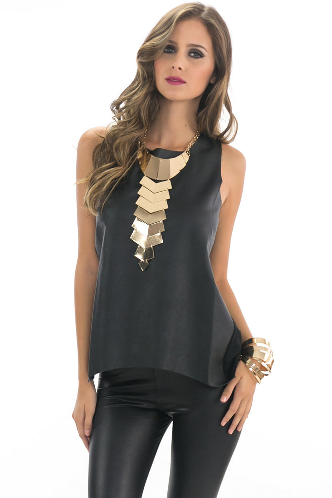 OLIVIA LEATHER CONTRAST TOP - BLACK