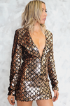 Cross The Line Sequin Dress - Gold Rose - Haute & Rebellious