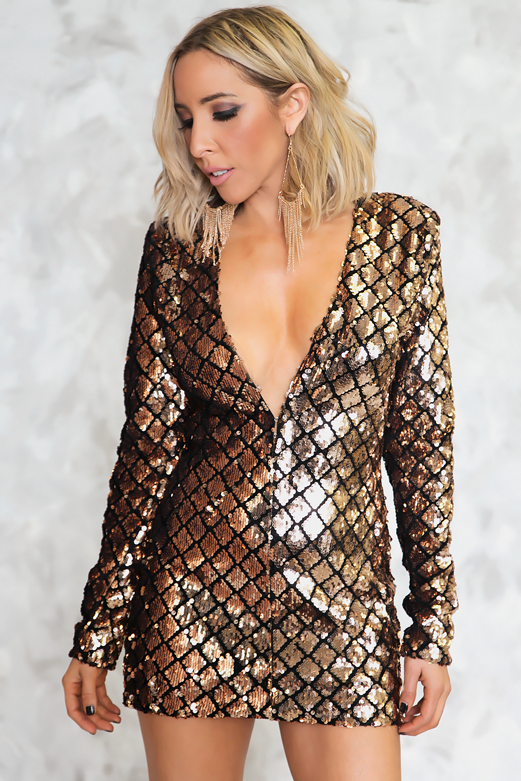 Cross The Line Sequin Dress - Gold Rose