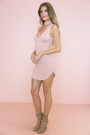 Oliver Neck Tie Dress - Blush - Haute & Rebellious