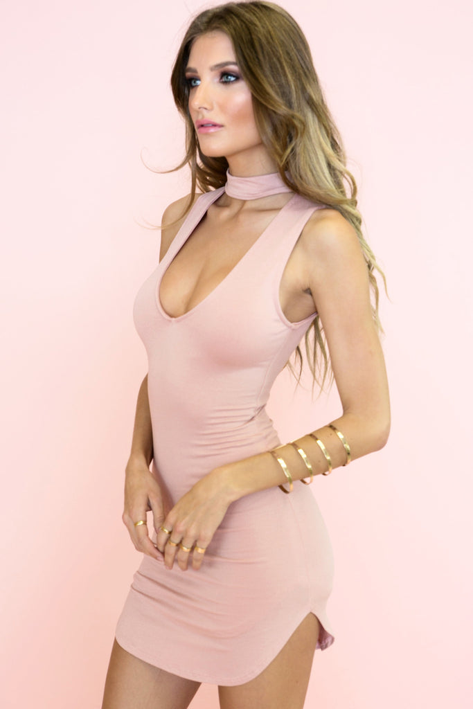 Oliver Neck Tie Dress - Blush