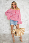 Picnic Vibes Off-Shoulder Bell-Sleeve Top - Red - Haute & Rebellious
