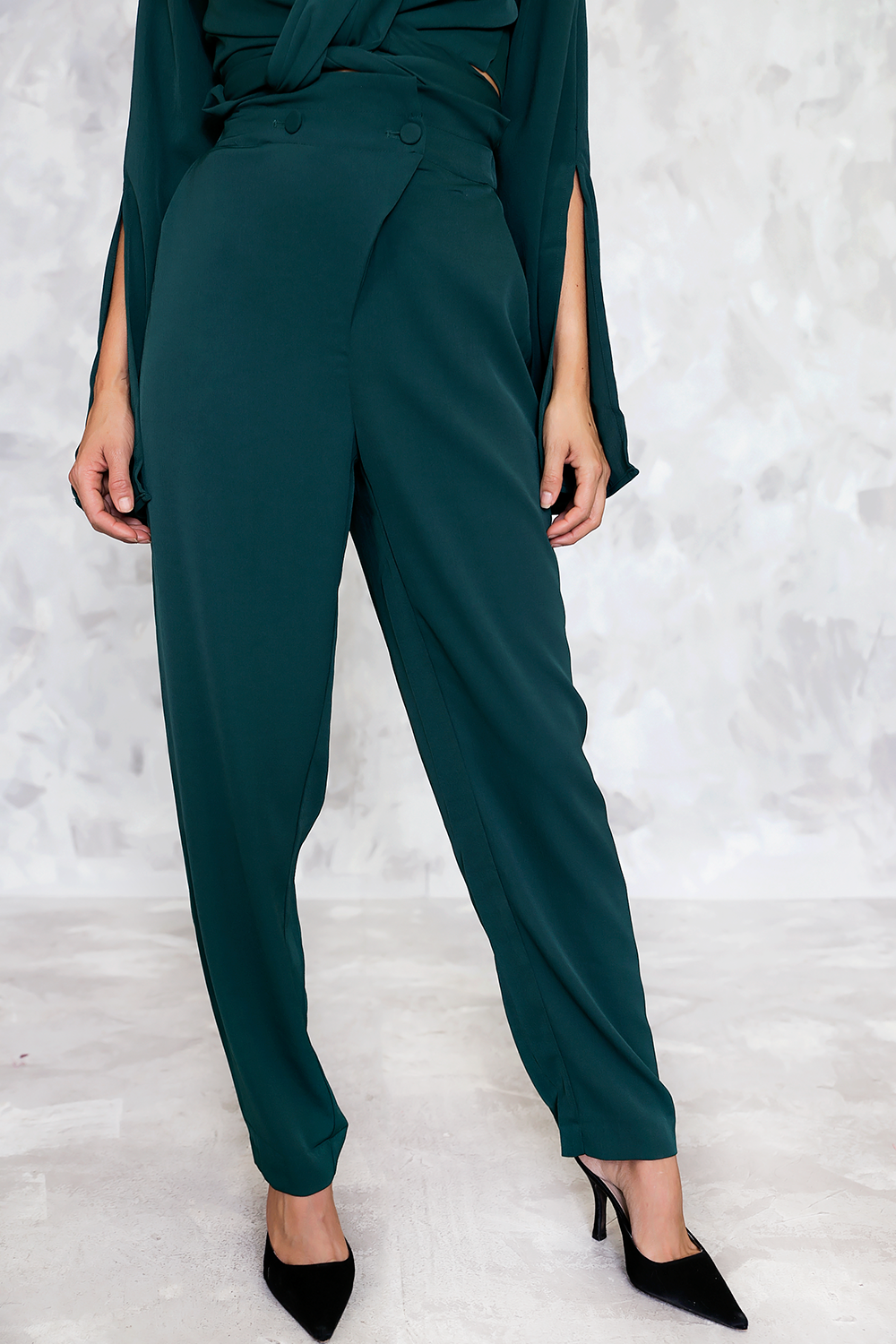 High Waisted  Button Trousers with Front Overlap - Haute & Rebellious