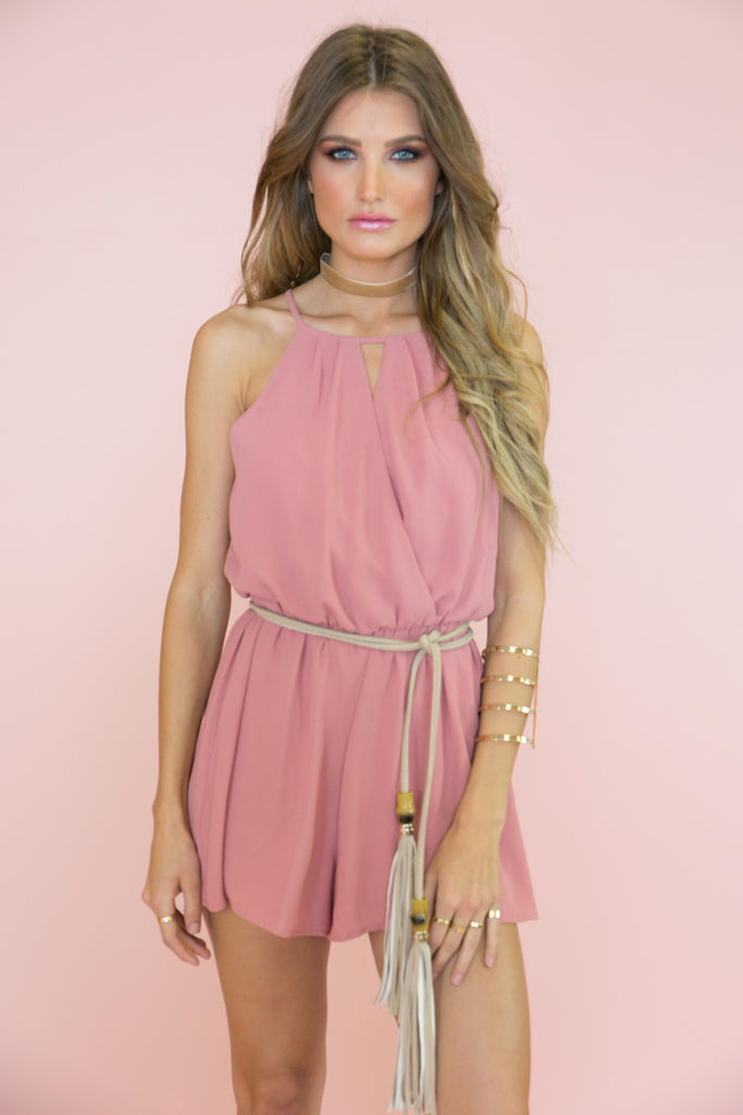 Smell The Roses Romper - Blush