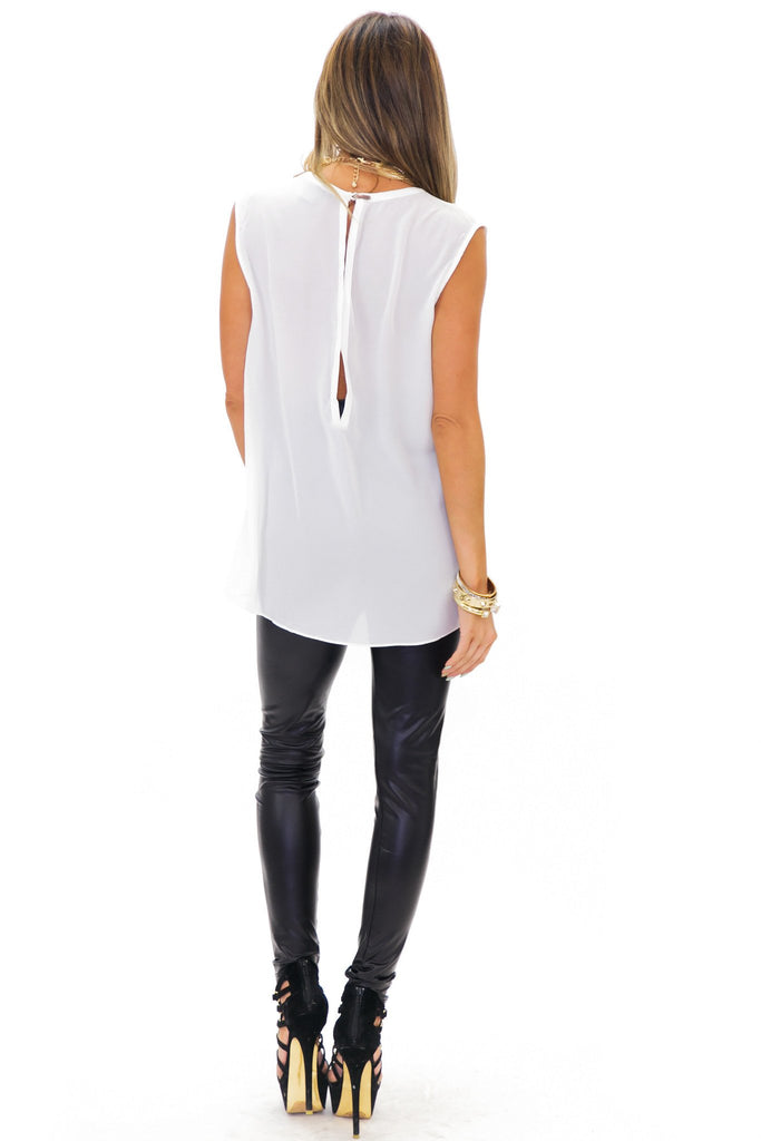 MAYERS SLEEVELESS CHIFFON TOP - White