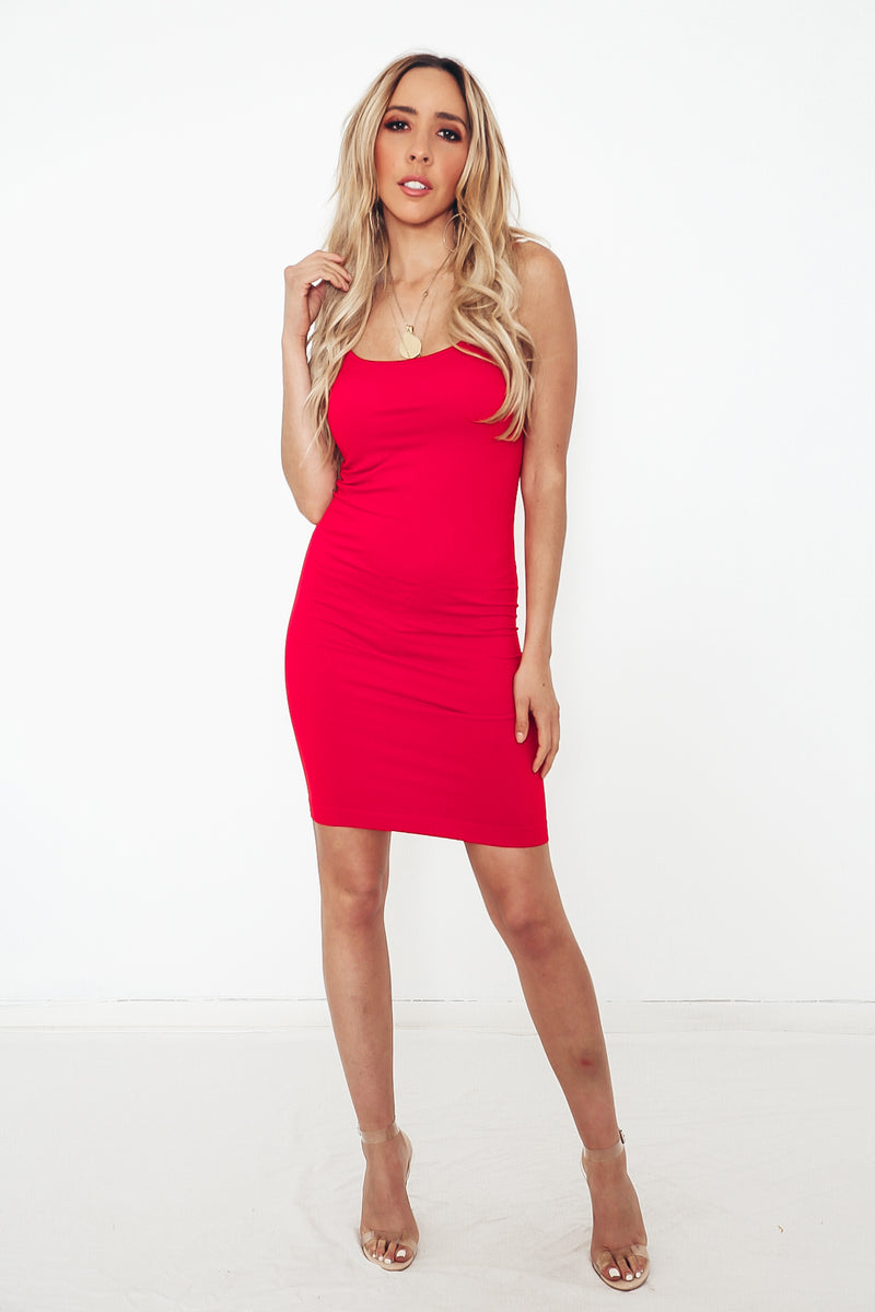 Long Stretch Camisole Dress - Red