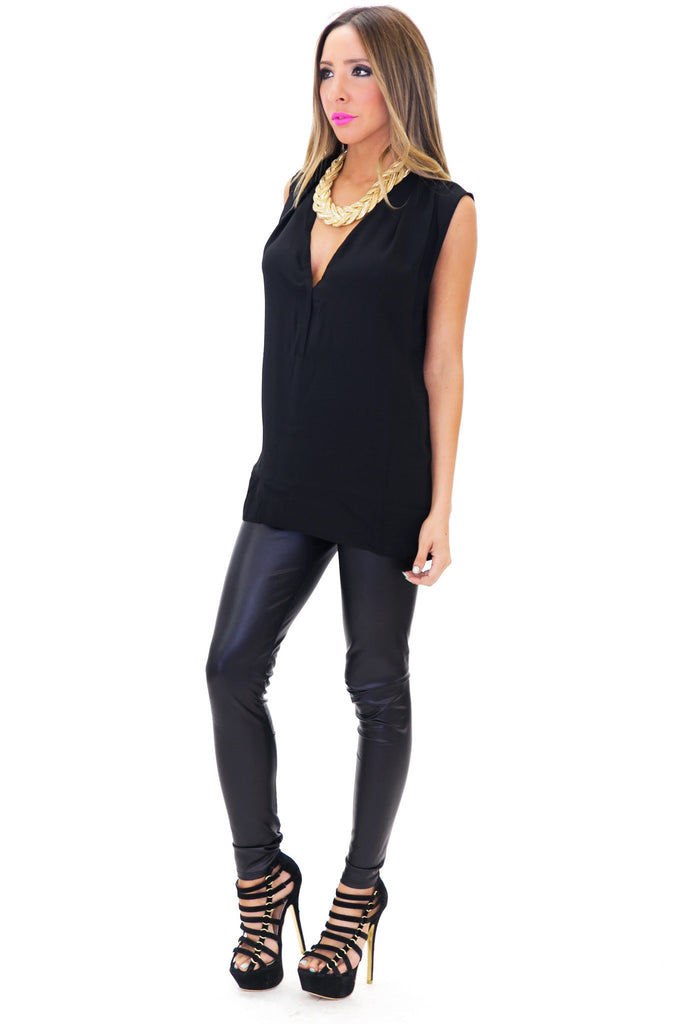 MAYERS SLEEVELESS CHIFFON TOP - Black