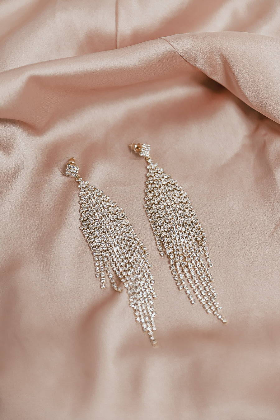 Elegant Chandelier Crystal Earrings - Gold