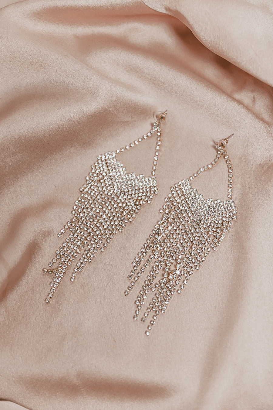 Crystal Fringe Earrings - Gold