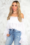Ruffle Story Off Shoulder Top - White - Haute & Rebellious