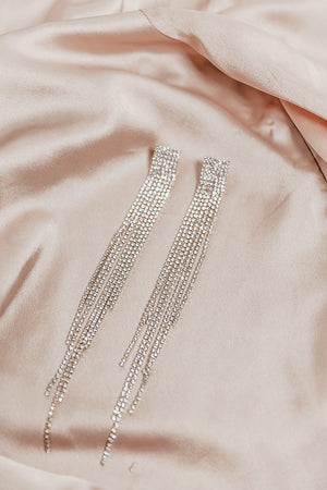 Long Draping Crystal Earrings - Gold