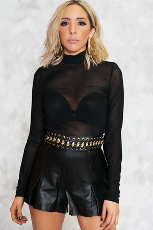 Turtleneck Mesh Bodysuit - Black /// ONLY 1-S LEFT/// - Haute & Rebellious