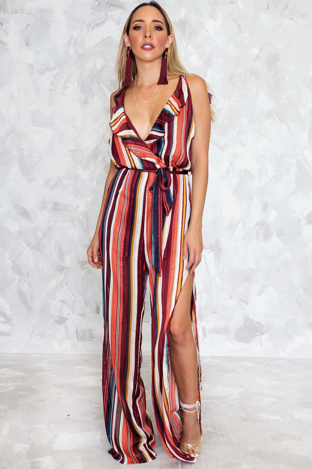 3b6f13cd352 Striped Jumpsuit with Ruffles - Haute   Rebellious