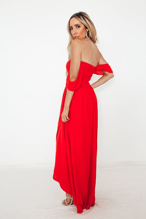 Off-shoulder Wrap Maxi Dress