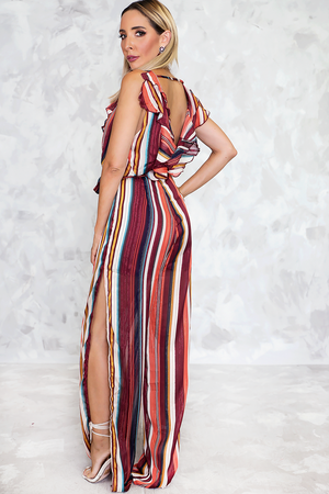 Striped Jumpsuit with Ruffles - Haute & Rebellious
