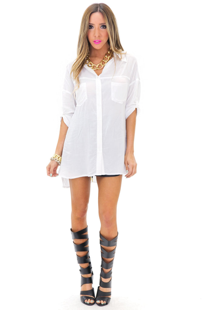 GRAYSON BUTTON-UP DRESS SHIRT - White