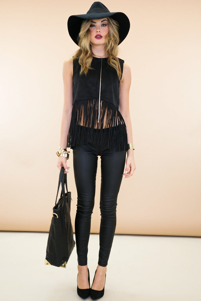 Maki Suede Leather Fringe Crop Top