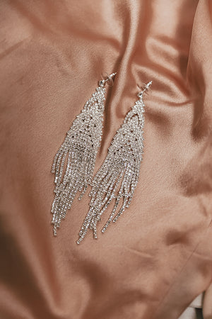 Elegant Crystal Earrings - Silver