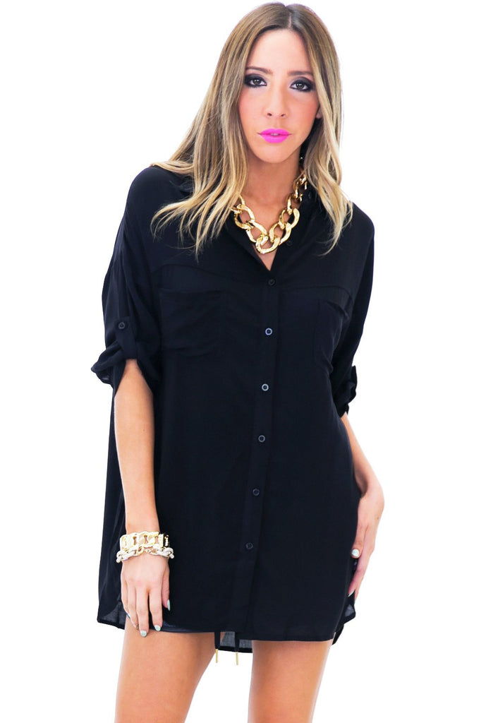 GRAYSON BUTTON-UP DRESS SHIRT - Black