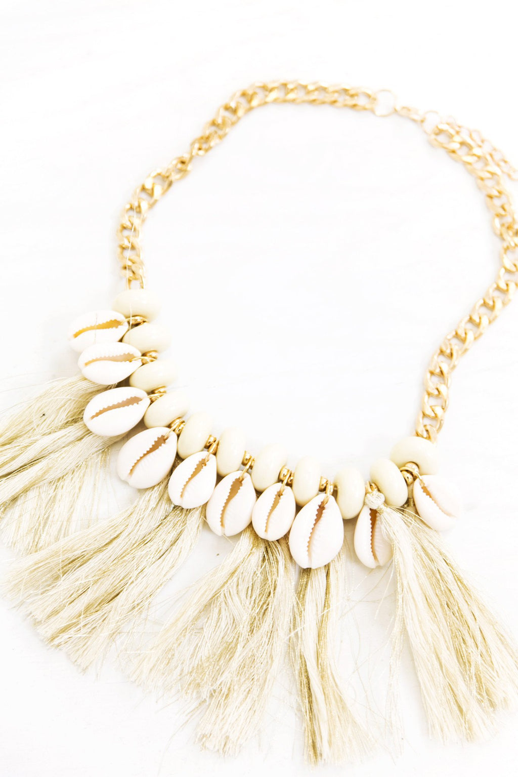 Gold Shells Fringe Necklace - Haute & Rebellious