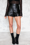 Leather Shorts - Black