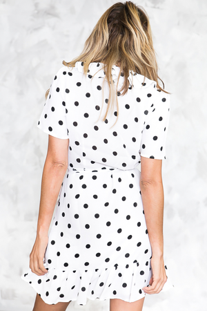 Sunny Days Polka Dot Ruffle Wrap Dress /// Only 1-M Left /// - Haute & Rebellious