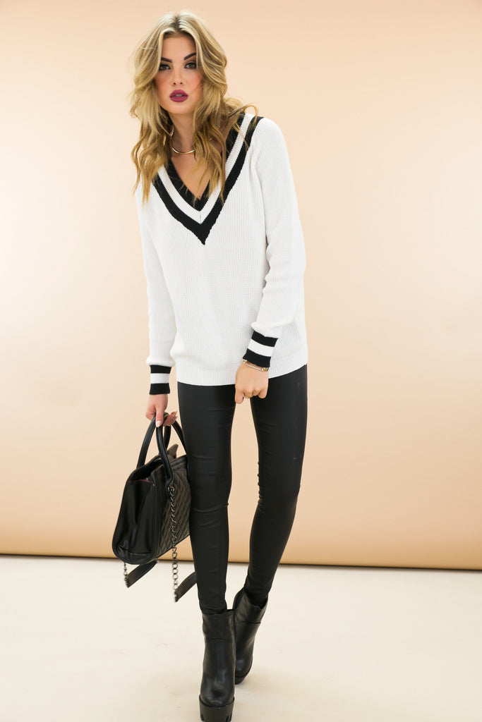 Talia V-Neck Varsity Sweater - White