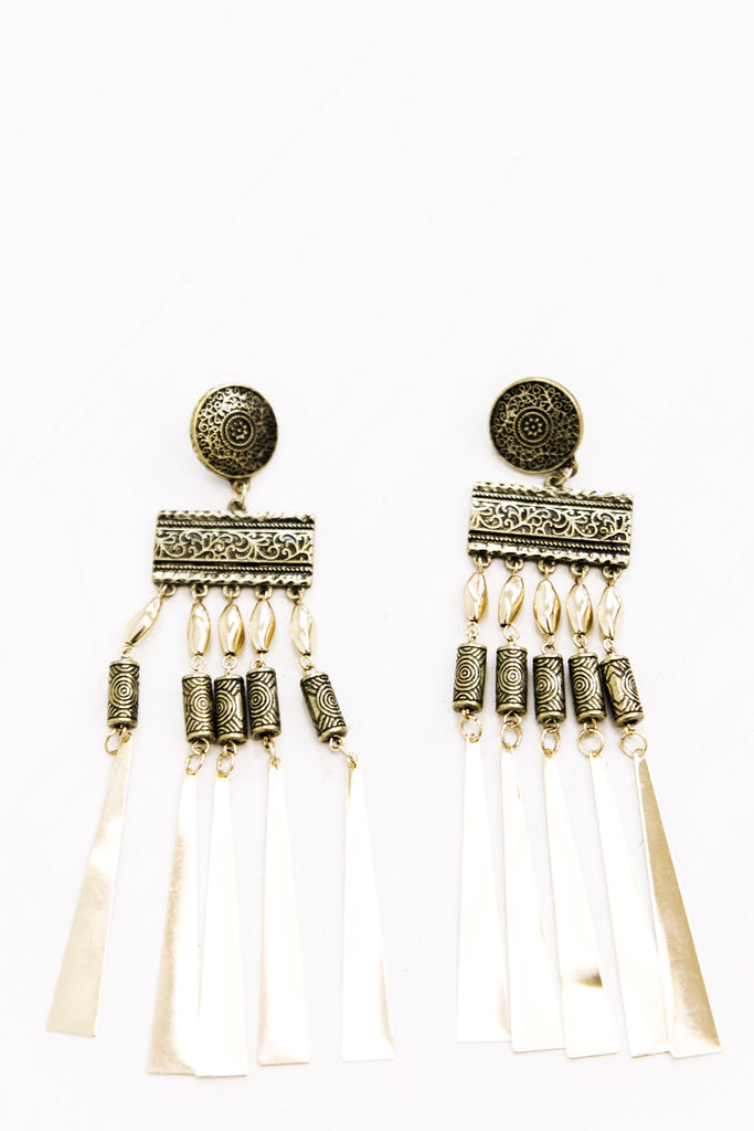 Tribal Metal Fringe Earrings