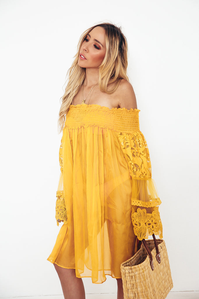 Off-shoulder Sheer Dress with Lace
