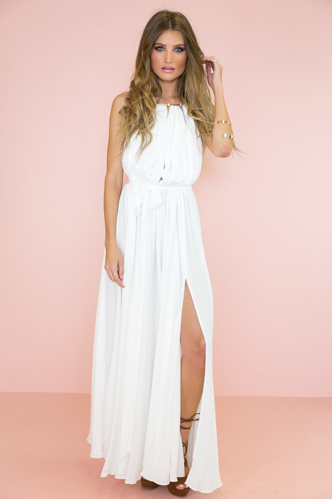 Mystic Sunset Slit Dress - White