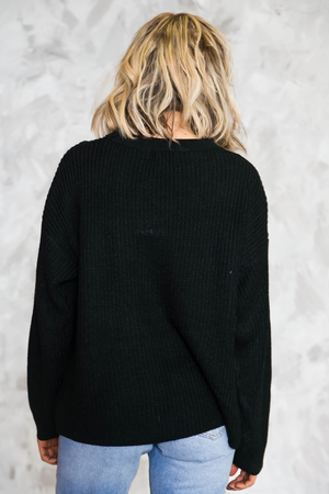 No Return Cutout Sweater - Black - Haute & Rebellious