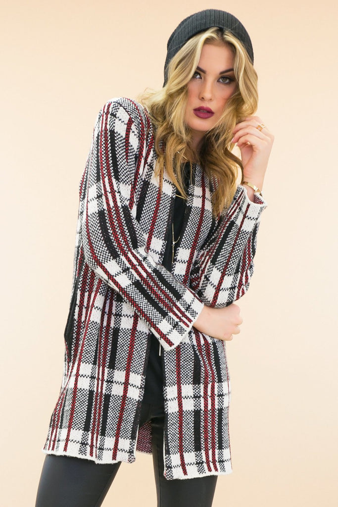 Alie Plaid Cardigan Sweater Coat - Haute & Rebellious
