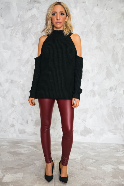 High-Waisted Leather Leggings - Maroon - Haute & Rebellious