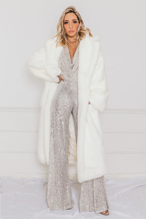 Luxe Long Faux Fur Coat - Off White