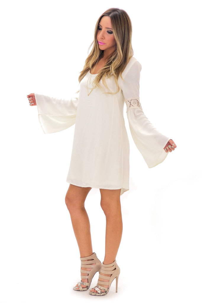 KRISTA CONTRAST LACE BELL SLEEVE DRESS