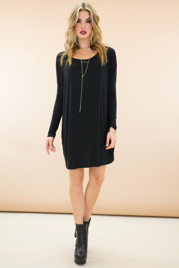 Emma Basic Long Sleeve Shift Dress - Black