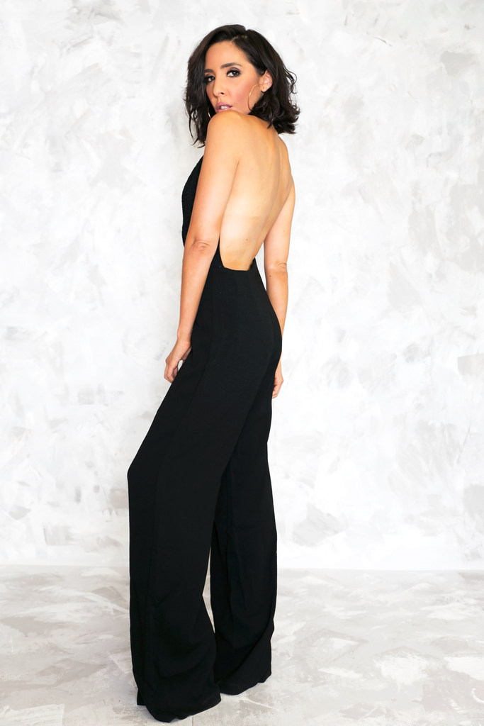 Key To My Heart Sleeveless Jumpsuit - Black