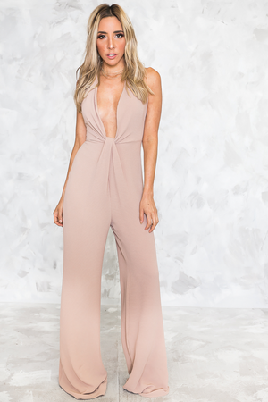 Show Stopper Tie-Knot Jumpsuit - Taupe - Haute & Rebellious