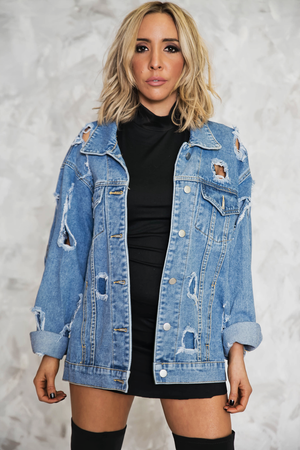 Ripped Denim Oversized Jacket - Haute & Rebellious