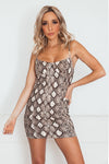 Snake-print Bodycon Mini Dress in brown