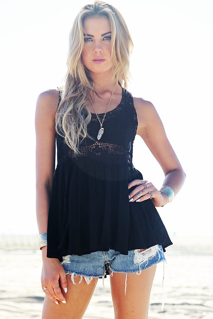 Mina Crochet Trim Top - Black - Haute & Rebellious